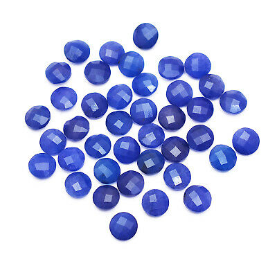 35 Pcs Lot of Faceted Dyed Blue Sapphire Round Shape Approx 10mm Loose Gemstones
