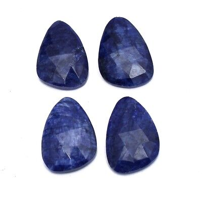 4 Pcs Lot of Faceted Dyed Blue Sapphire Natural Shape Approx 16x22mm Gemstones
