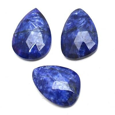 3 Pcs Lot of Faceted Dyed Blue Sapphire Natural Shape Approx 16x20mm Gemstones