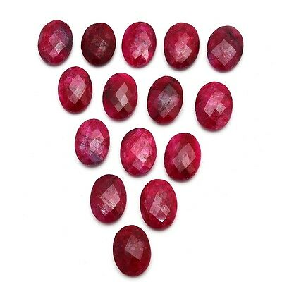 15 Pcs Lot of Faceted Dyed Ruby Oval Shape Approx 13x18mm Loose Gemstones