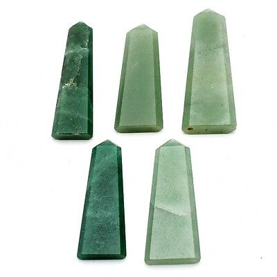 5 Pcs of Faceted Green Aventurine Pentagon Shape Approx 19x45mm Loose Gemstones