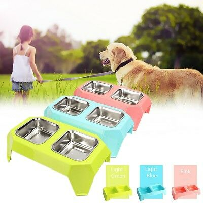 Pet Dog Cat Double Stainless Steel Bowl Food Water Feeder Plastic Raised Stand
