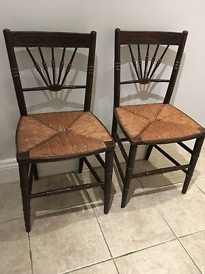 Pair of lovely antique 19th century side chairs with rush seats
