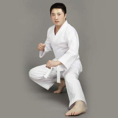 Karate Uniform Martial Arts Gi WHITE All Sizes HIGH QUALITY 8oz Free WHITE Belt