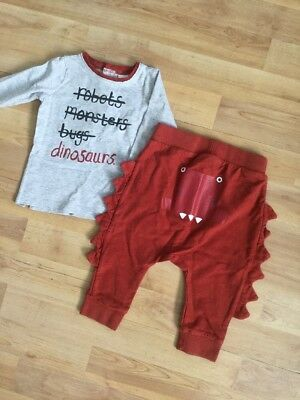 Next Baby Boys Soft Outfit Age 6-9 Months Dinosaurs Top, Jogging Bottoms, Jogger