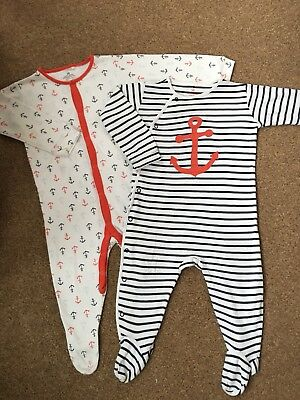 Next Boys X2 Sailor Sleepsuits/babygrows 12-18M