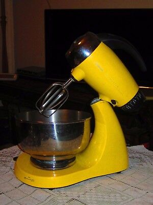 Vintage Retro Mixer Sunbeam Mixmaster 12 Speed, Works Well, Yellow, 2 x Bowls
