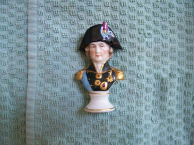 Antique German Porcelain Bust Admiral Lord Nelson with Chelsea Gold Anchor Mark