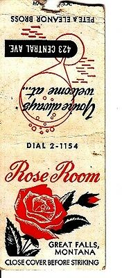 Rose Room Pete & Eleanor Bross Great Falls Montana MT Old Matchcover