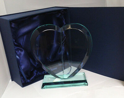 Case of 12 x Heart Shaped Jade Glass Trophies in Presentation Boxes (GLA1032)