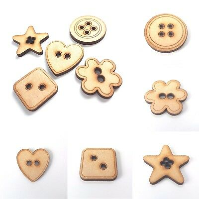 10x MDF Wooden Button Craft Star Flower Circle Square Heart 30mm Plain Blank