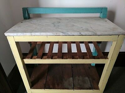 VINTAGE FRENCH INDUSTRIAL 1940's MARBLE TOP TIMBER TROLLEY