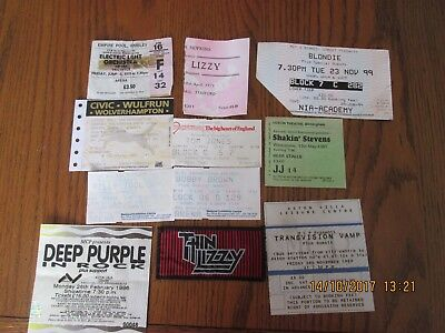 ticket stubs from various rock shows from late 60s to 90s