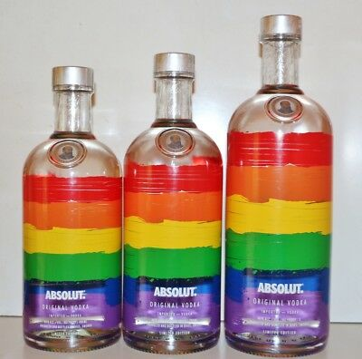 ★ Absolut Vodka 3x RAINBOW V4 incl. LITER Colors Pride Diversity LGBT Limited ★