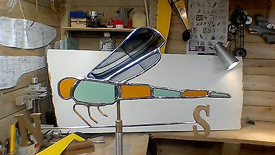 stained glass vintage style dragonfly windvane for garden with N/S points
