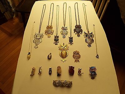 Owls, jewelry, lot of 20 pieces