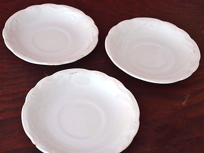 Antique Alfred Meakin Set Of 3 Saucers White Wheat 1910 Unicorn backstamp