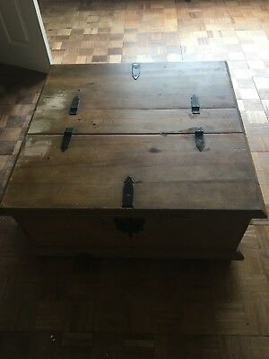 Wooden Storage Trunk Chest Coffee Table Or Tv Table