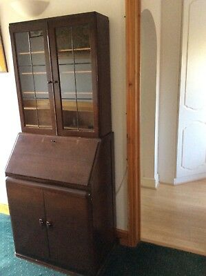 1920s bookcase leaded lights and bureau