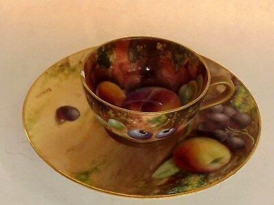 Antique Royal Worcester Fruit Hand Painted Cup & Saucer ,Both Artist Signed.