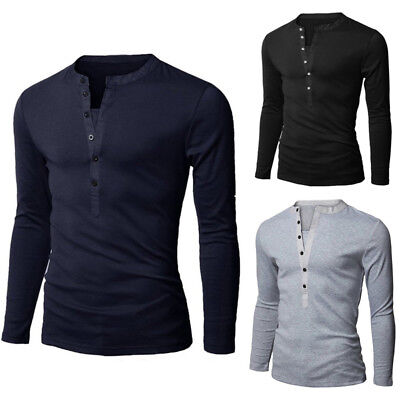 Men Slim Fit Cotton V-Neck Long Sleeve Casual T-Shirt Tops Hot NEW! Muscle Shirt