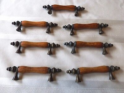 Lot of 7 Matching Vintage Bin Drawer Pulls Wood & Metal ~ A Brass Color