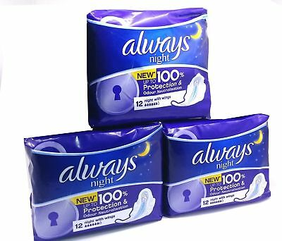 Always Night Pads with Wings Women Sanitary 36 Pads - PACK Of 3