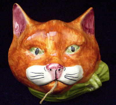 Toni Raymond wall mounted string holder ginger cat face with green bow