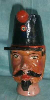 antique  German  The POLICEMAN WOODEN  wood  carved  head PUPPET 51/2