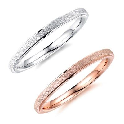 2MM Mens Rings Rose Gold/Silver Frosted 316L Stainless Steel Wedding Couple Ring