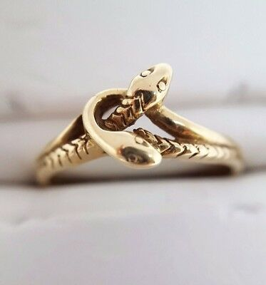 Double Headed Snake Ring - 9ct Yellow Gold - (2961)