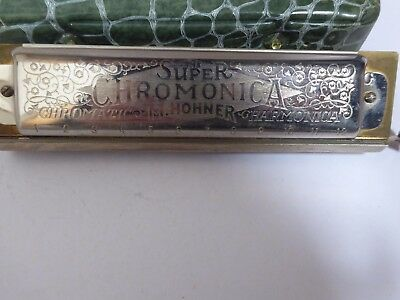 M.HOHNER SUPER CHROMONICA CHROMATIC HARMONICA and green faux crocodile skin case