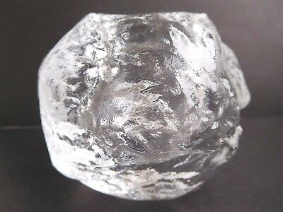 Kosta Boda glass snowball tealight holder Etched on base & label Great for Xmas