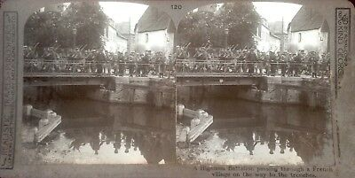 WW1 Stereoscopic Photo Card HIGHLAND BATTALION FRANCE RP REALISTIC TRAVELS