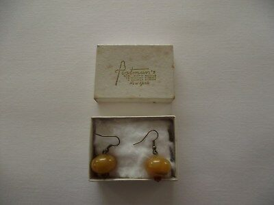 Antique Butterscotch Real Amber Earrings - C1920's, Period Box. Grab A Bargain?