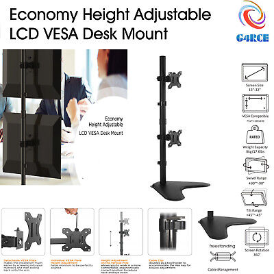 """G4RCE Vertical Dual TV Monitor Desk Mount Free Stand Bracket Fits 13-32"""" Screen"""