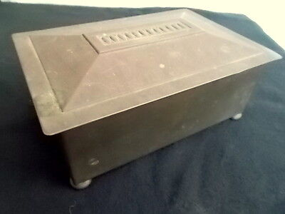 Antique Art Nouveau Repousse Copper Box with Wood Lining : Hinged Lid  Patina
