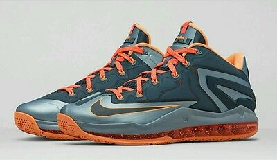 Nike Air Max  LeBron 11 Low Basketball shoes Youth size 7 Gray Mango NEW