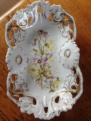 Antique Dresden - Hand Painted Dish Floral Design With Gold Gilding