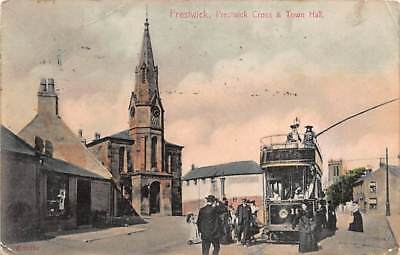 Prestwick, Ayrshire Scotland - Early Card with Tram, Trolley Posted in 1907