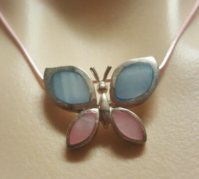 WOMENS VINTAGE silver blue & pink butterfly PENDANT + short pink tone NECKLACE!