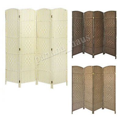 Solid Weave Hand Made Wicker 3 / 4 / 6 Folding Panel Room Divider Separator Home
