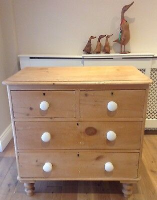 Victorian Antique Pine Chest Of Drawers