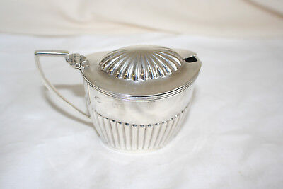 Antique large solid silver mustard pot London 1906