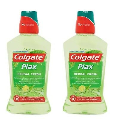 COLGATE PLAX Herbal Fresh Mouthwash 2 X 500ml, No alcohol,Tea & Lemon Extracts