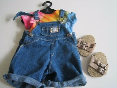 American Girl of Today EARTH DAY OUTFIT 1996 COMPLETE Tie Dye Jean Shorts Shoes