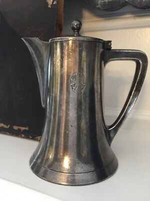Vintage UAL Eagle Silver Plate Pitcher Syrup Milk Cream Advertising