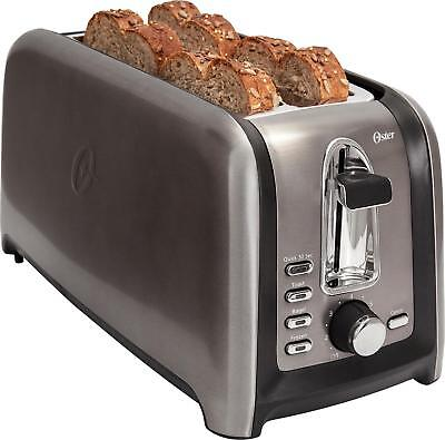 Oster - 4-Slice Extra-Long-Slot Toaster - Stainless Steel/Black