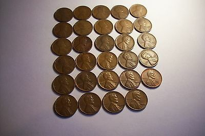 Lincoln Wheat Cent Penny Collection 29 Coins,  no duplication, DPS