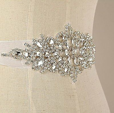 E-Clover Rhinestone Ribbon Sash Belt for Bridal Womens Wedding Dress Belt Black